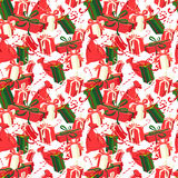 Festive Christmas and New Year seamless presents pattern in vint Stock Images