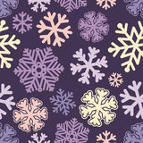 Festive Christmas and New Year seamless snoflakes pattern Stock Image