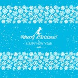 Festive Christmas and New Year seamless snowflakes borders. Blue Stock Photos