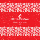 Festive Christmas and New Year seamless snowflakes borders. Red Royalty Free Stock Images