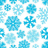 Festive Christmas and New Year seamless snowflakes pattern. Blue Royalty Free Stock Images
