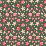 Festive Christmas and New Years background. Seamless pattern with gingerbread ornaments in scandinavian style. royalty free illustration