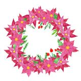 Festive Christmas and New Years Winter wreath on door with red poinsettia flowers, holly berries and pine cones.Watercol stock illustration