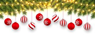 Free Festive Christmas Or New Year Background. Christmas Fir-tree Branches With Light Garland And Xmas Red Balls. Holiday`s Background Stock Photos - 159521103
