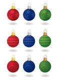 Festive Christmas Ornaments. Nine patterned, sateen Christmas ornaments, three different patterns in three different colors. Each ornament is complete with a Stock Images
