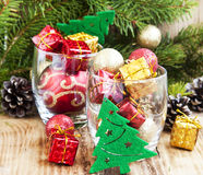 Festive Christmas Ornaments with Gifts and Balls Royalty Free Stock Photos