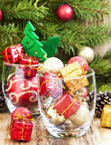 Festive Christmas Ornaments with Gifts and Balls Royalty Free Stock Image
