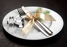Festive Christmas place setting Royalty Free Stock Photography