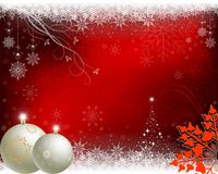 Red christmas background with beige balls Royalty Free Stock Photo