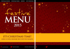 Festive Christmas Restaurant Menu Design. Luxury sparkle effect festive Christmas menu. Comes with a plain version to add custom text, food and drink items, and Royalty Free Stock Photography