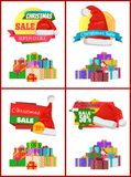 Festive Christmas Sale Announcement Posters Set. With heaps of gifts wrapped in bright paper with bows and Santa hat cartoon vector illustrations set Stock Photo