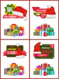 Festive Christmas Sale Announcement Posters Set. With heaps of gifts wrapped in bright paper with bows and Santa hat cartoon vector illustrations set Royalty Free Stock Images