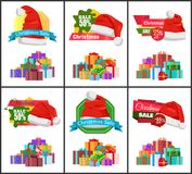 Festive Christmas Sale Announcement Posters Set. With heaps of gifts wrapped in bright paper with bows and Santa hat cartoon vector illustrations set Royalty Free Stock Photo