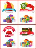 Festive Christmas Sale Announcement Posters Set. With heaps of gifts wrapped in bright paper with bows and Santa hat cartoon vector illustrations set Royalty Free Stock Photos
