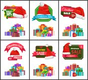 Festive Christmas Sale Announcement Posters Set. With heaps of gifts wrapped in bright paper with bows and Santa hat cartoon vector illustrations set Stock Images
