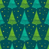 Festive Christmas seamless pattern, decorative fir-tree and star. S, doodle style, vector hand drawing of a magic New Year background trees.r Stock Photos