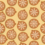 Festive Christmas seamless pattern with gingerbread Christmas ba stock illustration