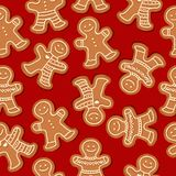 Festive Christmas seamless pattern with gingerbread men vector illustration