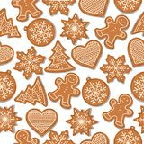 Festive Christmas seamless pattern with gingerbread stock illustration