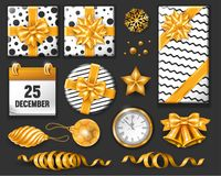 Festive Christmas Set. Christmas luxury ornate festive objects isolated on black background. Black, white and gold colors. Vector illustration Royalty Free Stock Images