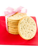 Festive Christmas shortbread  wrapped pastry cookies with red ri Royalty Free Stock Photo
