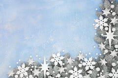 Festive Christmas Snowflake and Star Border