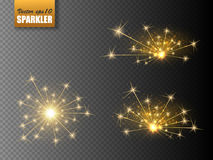 Festive Christmas sparkler set  on transparent background. Vector eps10 Stock Image