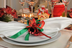 Festive Christmas table decoration Stock Images