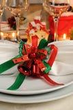 Festive Christmas table decoration Stock Photos