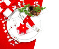 Festive christmas table place setting decoration Royalty Free Stock Photography