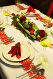 Festive christmas table in red Stock Image