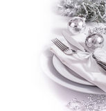 Festive christmas table set. Silver table set for New Year Stock Photography