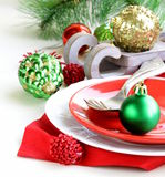 Festive Christmas table setting Royalty Free Stock Images