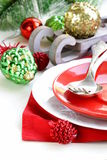 Festive Christmas table setting. With decorations Royalty Free Stock Images
