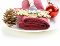 Festive Christmas table setting. Holiday decorations Stock Photo