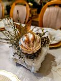 Festive Christmas Table With Antique Ornament Stock Image