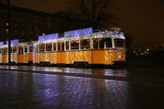 Festive christmas tram in Budapest city capital of Hungary Royalty Free Stock Images