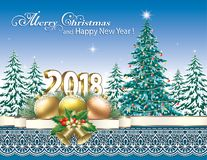 Merry Christmas and Happy New Year 2018. Festive Christmas tree and Christmas decorations on a nature background Royalty Free Stock Image