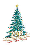 2018 Festive Christmas Tree. Christmas tree with Christmas toys and star Royalty Free Stock Images