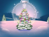 Festive Christmas tree in colored lights and a fabulous transparent ball. Illustration of the winter forest through the prism of the New Year`s miracle Stock Photos