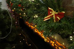 Festive Christmas tree decorated in room Royalty Free Stock Photo