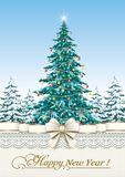 Festive Christmas tree. On a background of nature Stock Image