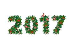 Festive Christmas tree Happy New Year wreath garland with candy,. Vector illustration Festive Christmas tree Happy New Year wreath garland with candy, berries Stock Images
