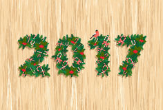 Festive Christmas tree Happy New Year wreath garland with candy, Royalty Free Stock Photos