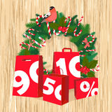 Festive Christmas tree New Year garland with paper bags, round Stock Image