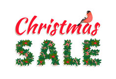 Festive Christmas tree New Year garland , Sale lettering, candy,. Vector illustrationFestive Christmas tree New Year garland , Sale lettering, candy, bird, white Royalty Free Stock Images