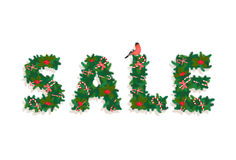 Festive Christmas tree New Year garland , Sale lettering, candy,. Vector illustrationFestive Christmas tree New Year garland , Sale lettering, candy, bird, white Royalty Free Stock Photography