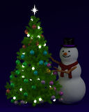 Festive Christmas tree and snowman. At night Royalty Free Stock Images