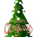 Festive Christmas tree on a white background. Christmas tree with a beautiful inscription Merry Christmas on a white background Royalty Free Stock Photos