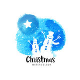 Festive christmas vector illustration. With falling snow and cheering snowmen Stock Photos